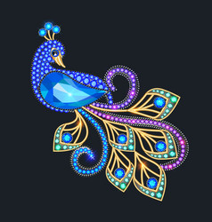A jewelry peacock brooch with precious stones vector