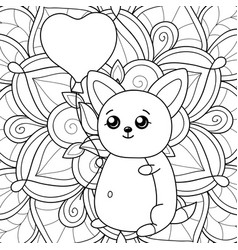 adult coloring bookpage a kawaii cat with balloon vector image