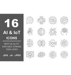 Ai icons set artificial intelligence different vector