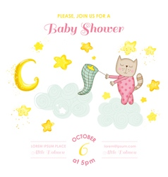 Baby shower or arrival card - cat girl vector