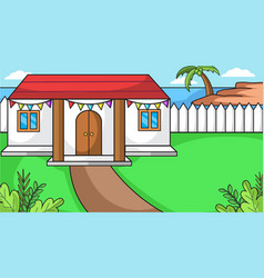background house in near sea and plant with vector image
