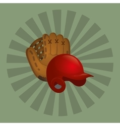 Baseball leather glove hat vector