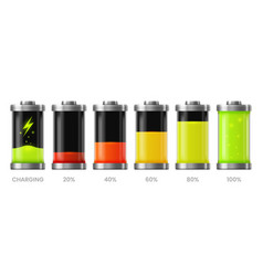 battery charge icons energy charger level signs vector image