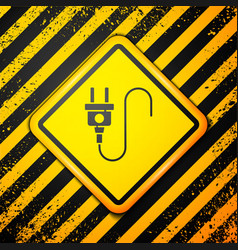 Black electric plug icon isolated on yellow vector