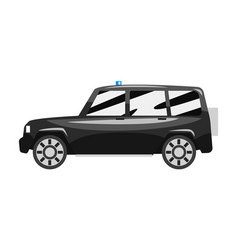 Black off road car with blue flasher siren vector