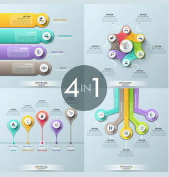 bundle of 4 infographic design templates vector image