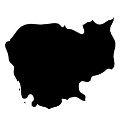 cambodia - solid black silhouette map of country vector image