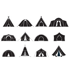 camping tents icons set vector image