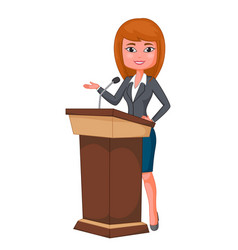 cartoon beautiful business woman giving a speech vector image