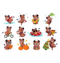 cartoon bull cute cow activities new year symbol vector image