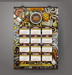 cartoon doodles color cafe 2019 year calendar vector image