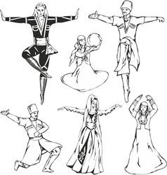 Caucasusian dancers vector