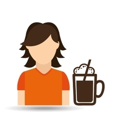 Character girl cup coffee icon graphic vector