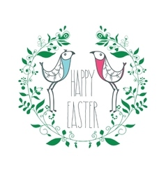 Colorful Happy Easter greeting card with floral vector image