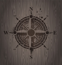 compass rose painting on a wooden wall vector image
