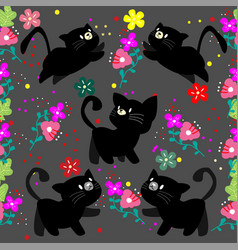 Cute cat seamless pattern with flower on colorful vector