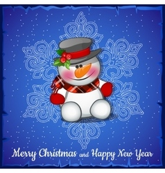 Cute snowman on background of snowflakes vector