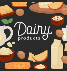 delicious natural fresh healthy dairy products vector image