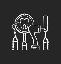 Dental equipment chalk white icon on black vector