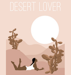 desert lover hand drawn lying vector image