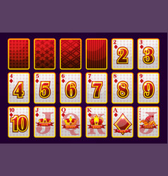 diamonds suit poker playing cards for poker and vector image