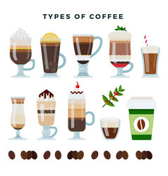 different types coffee various coffee drinks vector image