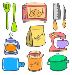 Doodle of kitchen colorful set vector