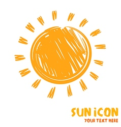 Drawing of sun symbol icon vector