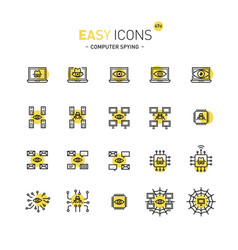 Easy icons 47d computer spying vector