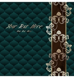 Elegant dark green rococo background vector