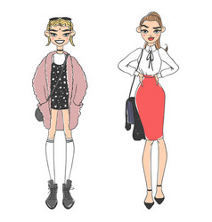 fashion look girl beautiful girl woman female vector image
