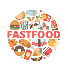 fast food icons menu pictures in circle shape vector image
