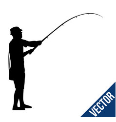 Fisherman silhouette on white vector