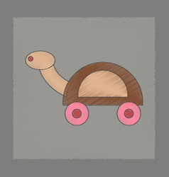 Flat shading style icon kids turtle vector
