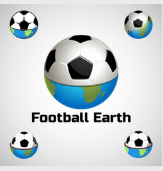 Football earth logo for the team and the cup vector