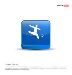 football player icon - 3d blue button vector image