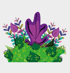 Forest flowers and leaves vector