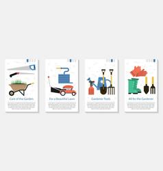 four banner for gardener vector image