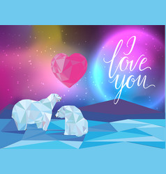 Galaxy and polar bears background for web vector