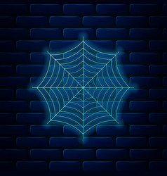 Glowing neon spider web icon isolated on brick vector