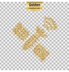 Gold glitter icon of satellite isolated on vector