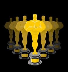 Golden statuette on black background Dream vector image