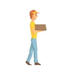 Guy Carrying Pile Of Pizza Boxes Delivery Company vector