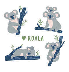 hand drawn doodle koala bears collection cute vector image