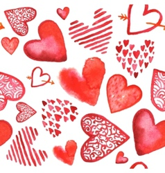Hand drawn painted watercolor red hearts vector