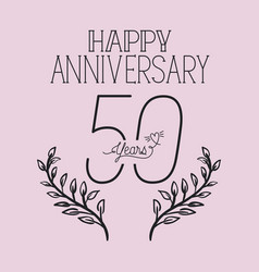 Happy anniversary number fifty with wreath crown vector