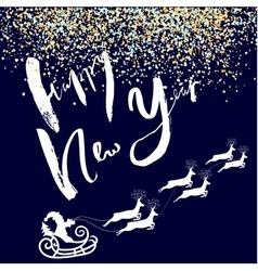 Happy New Year lettering design Santa Claus vector image