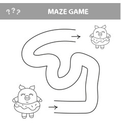 help piggy find path labyrinth maze game for vector image