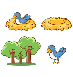 isolated picture birds and nest vector image