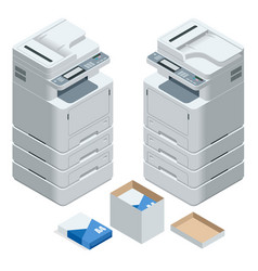 Isometric multifunction office printer office vector